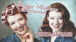 how to curl your hair vintage sponge rollers tutorial youtube