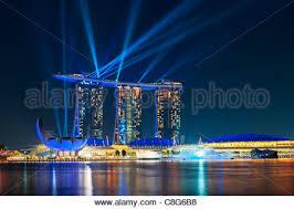 Bay Bridge Light Show Singapore Marina Bay Sound And Light Show Stock Photo Royalty