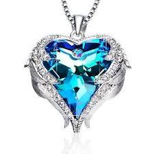 valentines necklace blue heart pendant necklace birthday valentines day women
