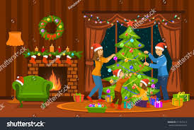 family decorating christmas tree living room stock vector