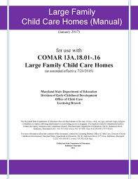 large family child care home manual early childhood development