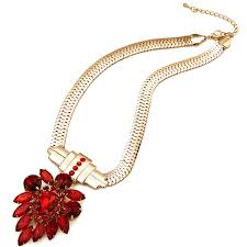 red crystal choker necklace images Luxury costume jewellery real 9ct gold plated diamante ruby red jpg