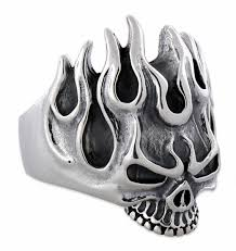 silver rings skull images Sterling silver flaming skull ring jpg