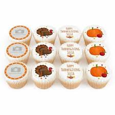 say happy thanksgiving with 12 personalised cupcakes bakerdays