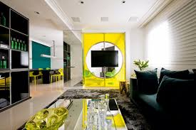 furniture neon living room with bright yellow single sofa and