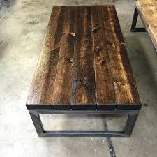 Solid Pine Table Handmade Solid Coffee Table With Rough Cut Pine Stained In Black