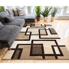 Plush Area Rugs Imagine Geometric Squares Modern Beige Brown Soft Plush Area Rug