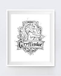 gryffindor crest black white harry potter gifts hogwarts