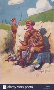 letter from home painting of soldier in world war one trench