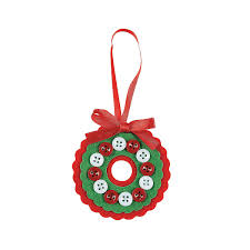 red u0026 white button wreath christmas ornament craft kit button