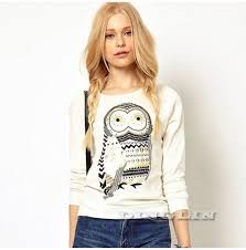 ladies female long sleeve rostone rhinestone owl print t