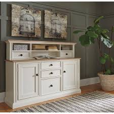two tone large credenza with built in power strip u0026 short hutch by