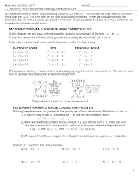 Factoring X2 Bx C Worksheet Photo Album How To Factor With The X All Can Download All Guide