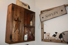 Rustic Bathroom Wall Cabinets - rustic wood hanging wall bathroom cabinet with two tiers open