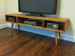 mid century modern media cabinet furniture rectangle brown varnished teak mid century modern stereo