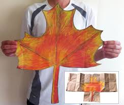 paper bag maple leaf art projects for kids