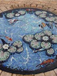 Mosaic Table L Koi Pond Trompe L Oeil Mosaic Floor By Mosaic Artist Gary