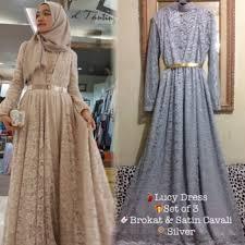 Baju Muslim Brokat gamis pesta brokat mewah yang tren dan dress gamis pesta brokat