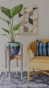 diy mid century modern plant stand with wood dip dyed legs