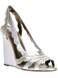 lanvin metallic wedge sandals in metallic lyst