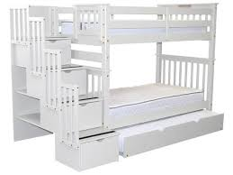 bunk beds tall twin stairway white twin trundle 835