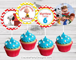peanuts cupcake toppers snoopy birthday