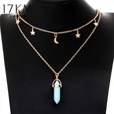 necklace for 17km 6 colors big moon pendant tattoo choker necklace