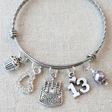 Birthday Charm Bracelet Amazon Com 13th Birthday Gift For Her Happy 13th Birthday Charm