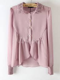 lilac blouse lilac chiffon lace ruffles turndown collar blouse for