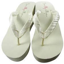 bridesmaid sandals ivory wedge or white wedge bridal satin flip flops black 3 5 inch