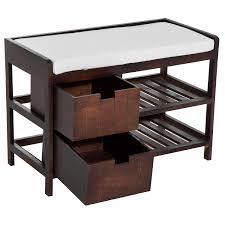 aosom homcom wooden shoe rack entryway bench organizer w drawer