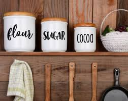 wooden kitchen canisters canister labels etsy