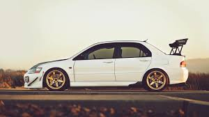 Cars Forests Mitsubishi Lancer Evolution Ix Red Roads Tuned Tuning