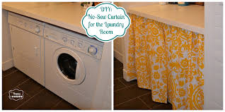Cute Laundry Room Decor by Diy A No Sew Curtain In The Laundry Room The Happy Housie