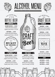 menu beer restaurant alcohol template placemat stock vector art