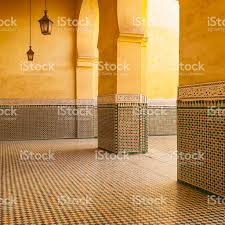 moroccan architecture tomb of moulay ismail meknes morocco stock
