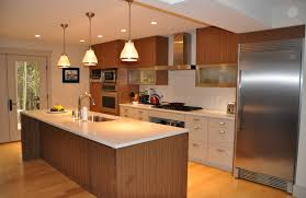 modern wooden brown island with white granite countertop also