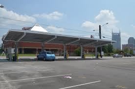 Solar Canopy by Nashville Parking Lot Adds 8 Solar Assisted Charging Stations