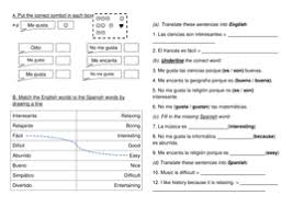 spanish subject opinions worksheet by kijog teaching resources tes