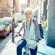 hipster hair for women beautiful young blonde short hair hipster woman witk bike in the
