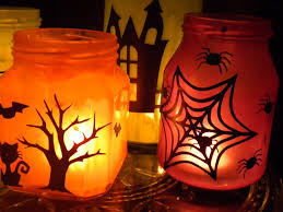 halloween glass jars painted halloween jar candles