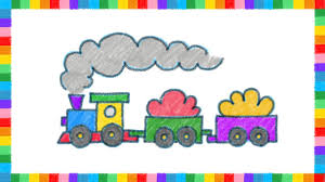 how to draw a freight train with color crayons for kids coloring