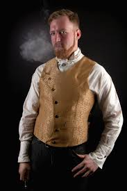 steunk vest mens waistcoat asymmetrical gold scroll