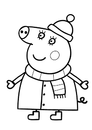 peppa pig coloring pages winter clothes coloringstar