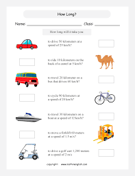 grade 5 or 6 math speed worksheet based on metric units of speed
