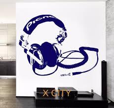 online get cheap music stencils for wall aliexpress alibaba music head phones earphones wall art decal sticker removable vinyl transfer stencil mural home room decor