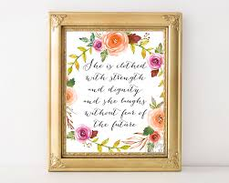 Bible Verses For The Home Decor by She Is Clothed With Strength And Dignity Inspirational Quote