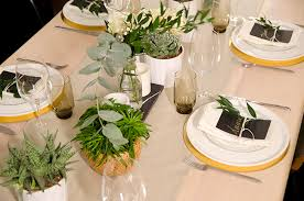 black and white table settings neutral table setting with succulents