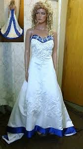 white wedding dress with royal blue sash colorful bridal gowns color accents bridal gown