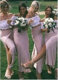 kleid fã r brautjungfer rosa weiß 2 teiler brautjungfernkleider lang günstig spitze